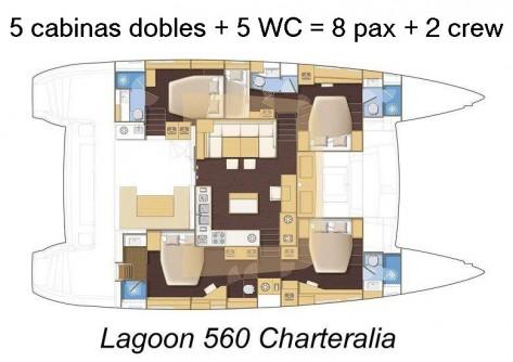 plano lagoon 560 5 cabinas 5 baños 2 tripulacion