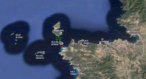 mapa cala conta navegar entre la isla del bosque y conejera