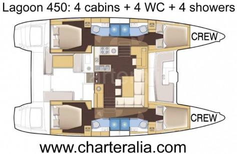 mapa de distribución del interior cabinas Lagoon 450 para alquiler en Ibiza