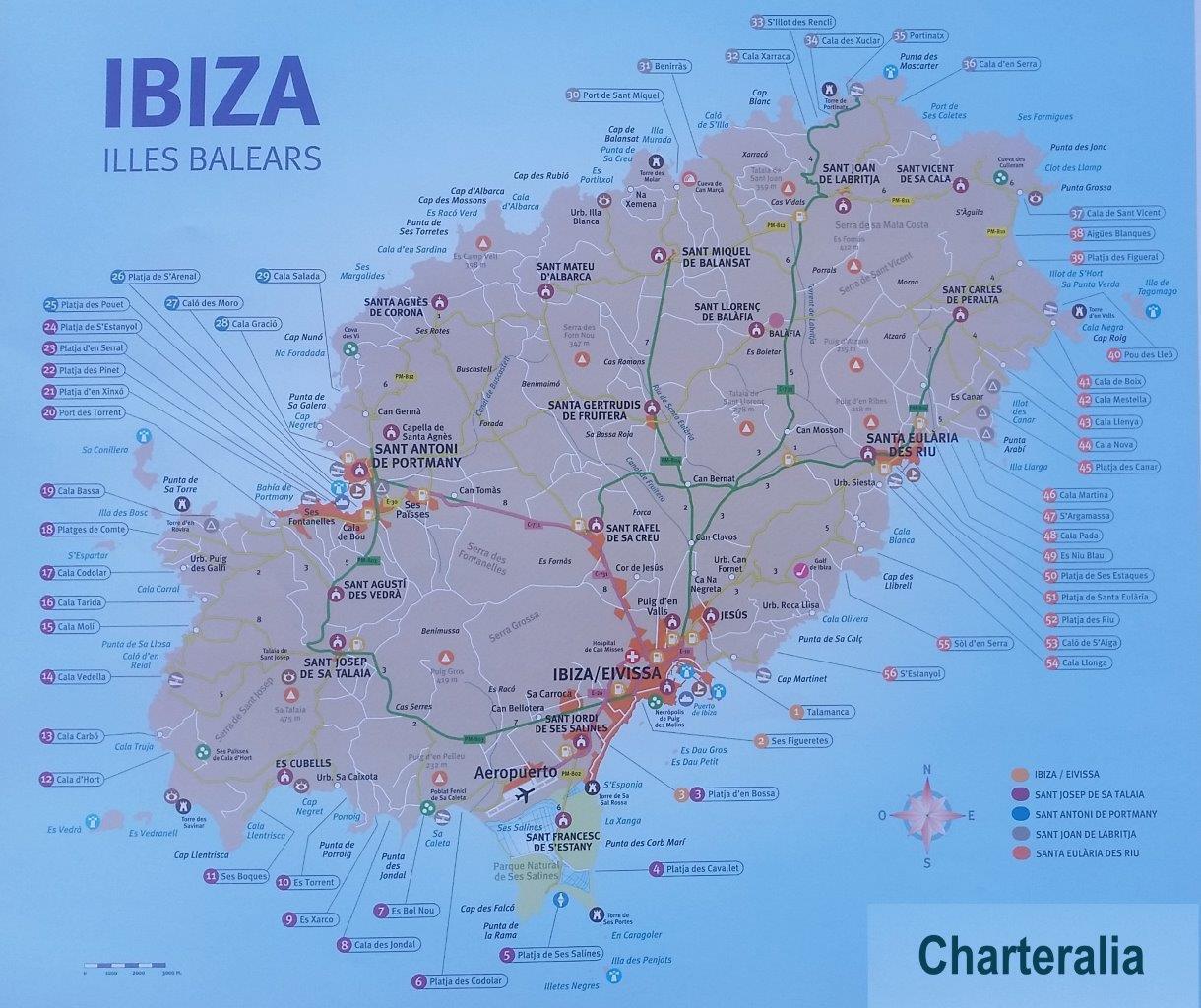 Playas De Ibiza Mapa.Rutas Navegacion Entre Ibiza Y Formentera
