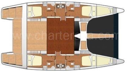 Mapa distribución catamaran Cat 52 para arrendar con patron en Ibiza y Formentera