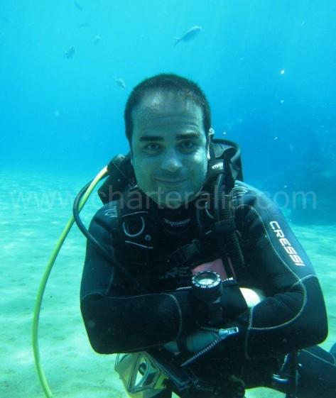 Nacho Morros haciendo submarinismo en Ibiza