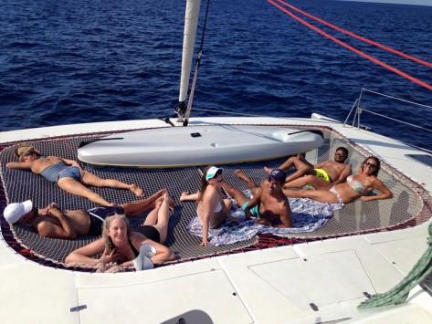 redes del catamaran de 16 metros ibiza