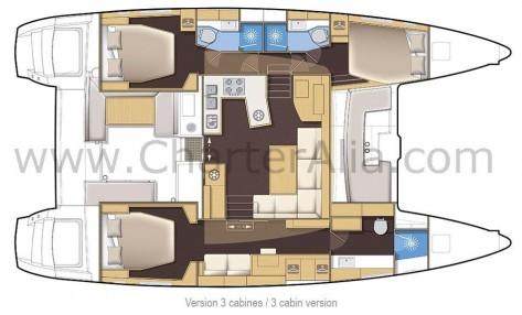 Distribucion del SporTop 450 Lagoon catamaran para alquilar en Ibiza