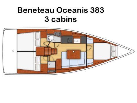 Mapa de distribución interior del barco de vela Beneteau Oceanis 383