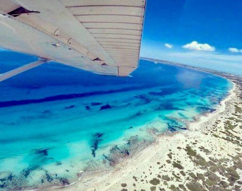 Vista aérea de Playa Migjorn Formentera