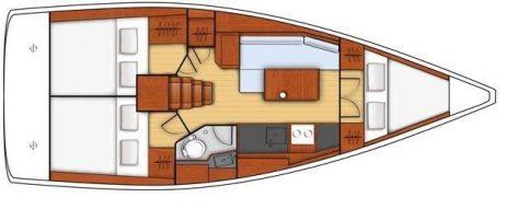 Mapa distribución interior barco charter con patron Beneteau 351 Ibiza