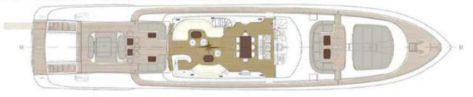 Plano de cubierta del megayate Mangusta 130 para alquiler en Ibiza y Formentera