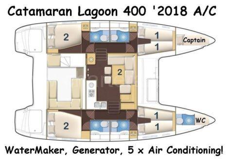 Plano distribucion catamaran Lagoon 400 de alquiler en Ibiza y Formentera
